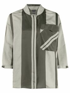 Lorena Antoniazzi maxi-striped pocket shirt - Grey