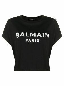 Balmain cropped logo print T-shirt - Black