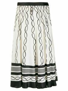 Elisabetta Franchi chain print midi skirt - White