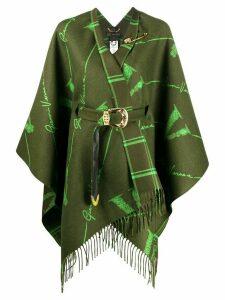 Versace V-pattern wool jacquard cape - Green