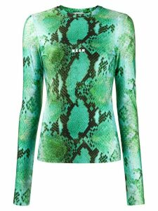 MSGM snake print knitted top - Green