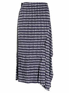 Victoria Beckham abstract print midi skirt - Blue
