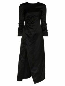 A.W.A.K.E. Mode ruched side split midi dress - Black