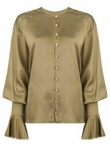Balmain billowing-sleeve logo-button blouse - Green