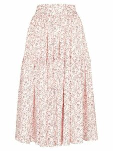 Shrimps Ray cat print tiered skirt - White