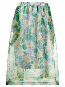Plan C sheer floral-print skirt - Blue