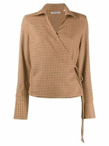 Our Legacy checked wrap blouse - ORANGE