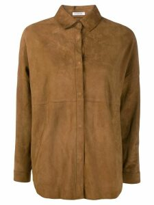P.A.R.O.S.H. oversized leather shirt - Brown