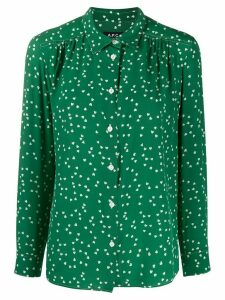A.P.C. silk heart print blouse - Green