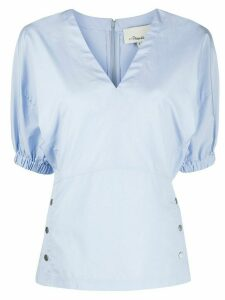 3.1 Phillip Lim balloon sleeved V-neck blouse - Blue