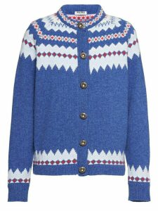 Miu Miu Norwegian lambswool cardigan - Blue