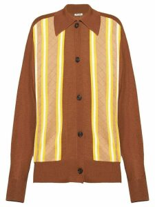 Miu Miu striped buttoned cardigan - Brown