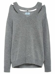 Prada cut-out detailed jumper - Grey