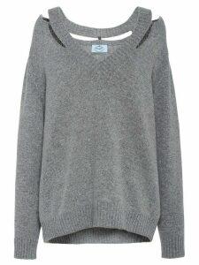 Prada cut-out detailed jumper - Grey