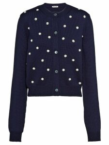 Miu Miu pearl and crystal embellished cardigan - Blue