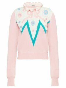 Miu Miu frilled neck cropped jumper - PINK