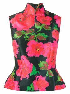 Richard Quinn peplum hem floral print blouse - Black