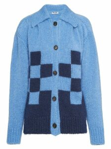 Miu Miu checked detail cardigan - Blue