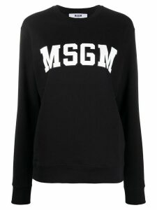 MSGM College logo-print cotton sweatshirt - Black
