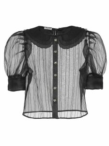 Miu Miu puffed short-sleeve sheer blouse - Black