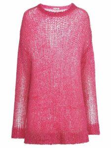 Miu Miu oversized sequin-embellished crewneck jumper - PINK