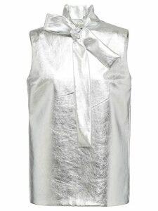 Prada metallic leather blouse - SILVER