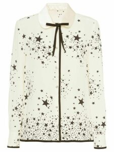 Miu Miu star print bow-embellished blouse - NEUTRALS