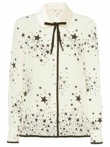 Miu Miu star print bow-embellished blouse - NEUTRALS