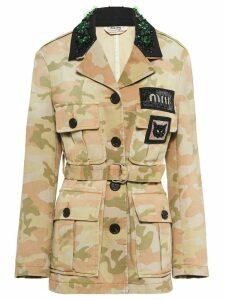 Miu Miu camouflage print belted jacket - Green