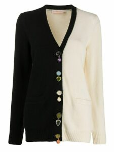 Tory Burch colour block embellished cardigan - Black