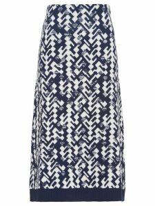 Prada jacquard geometric knitted skirt - Blue