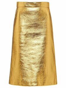 Prada laminated A-line skirt - GOLD