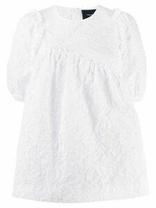 Simone Rocha puff-sleeved matelassé babydoll top - White