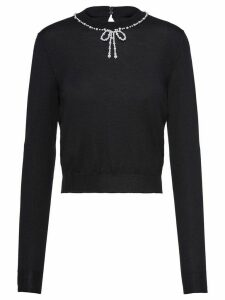 Miu Miu pearl-embellished slim-fit jumper - Black