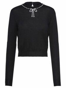 Miu Miu pearl-embellished slim-fit jumper - Black