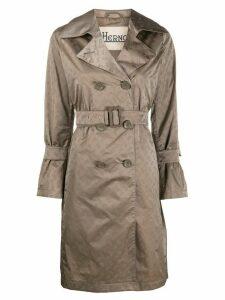 Herno logo print trench coat - Brown