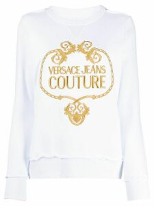 Versace Jeans Couture logo embroidered crew neck sweatshirt - White