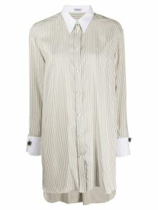 Brunello Cucinelli striped long-length shirt - White