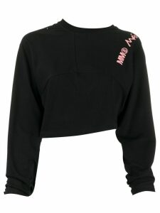 Mm6 Maison Margiela cropped logo sweatshirt - Black