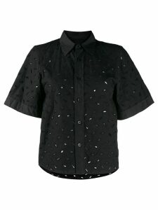 Ami Paris cut-out embroidered short-sleeved shirt - Black