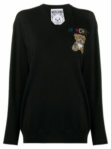 Moschino crystal-embellished teddy logo jumper - Black