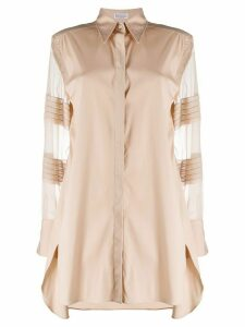 Brunello Cucinelli longline sheer sleeve shirt - NEUTRALS