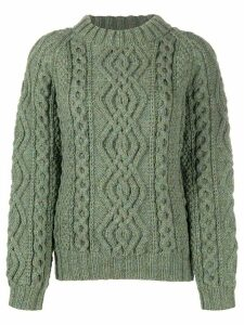 FOLKLOORE Irish Aran knit jumper - Green