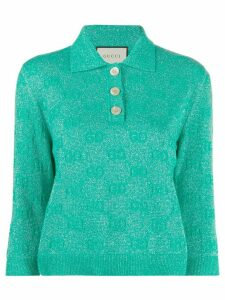 Gucci GG sparkling cropped polo shirt - Green
