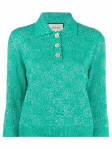 Gucci GG sparkling cropped polo shirt - Green