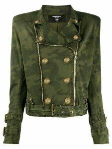 Balmain camouflage print military jacket - Green