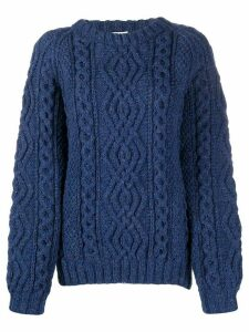 FOLKLOORE Irish Aran knit jumper - Blue