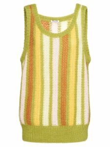 Miu Miu striped sleeveless knitted top - Green