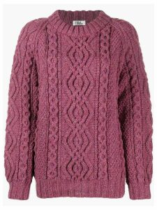 FOLKLOORE Irish Aran knit jumper - PINK