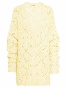 Miu Miu crystal detailed crocheted cardigan - Yellow